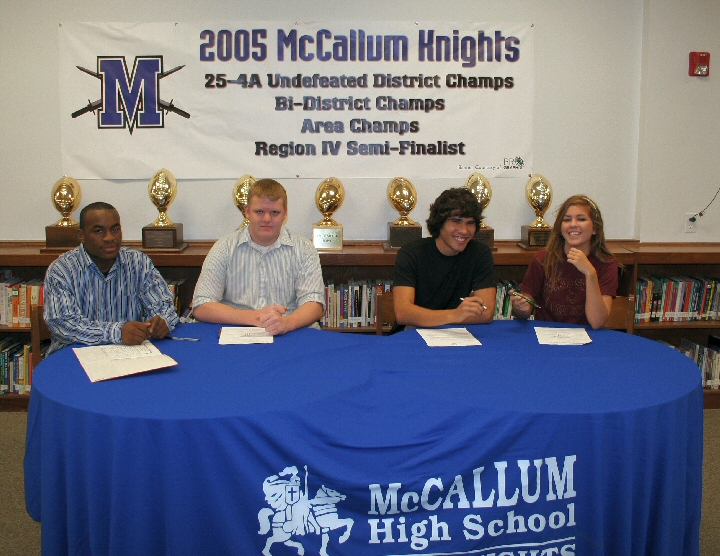 Four McCallum Knights Sign Letters of Intent