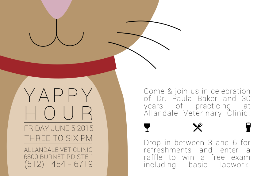 Yappy Hour Fri, June 5 – celebrate 30 years of Allandale Veterinary Clinic