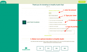Donation page for NW Park